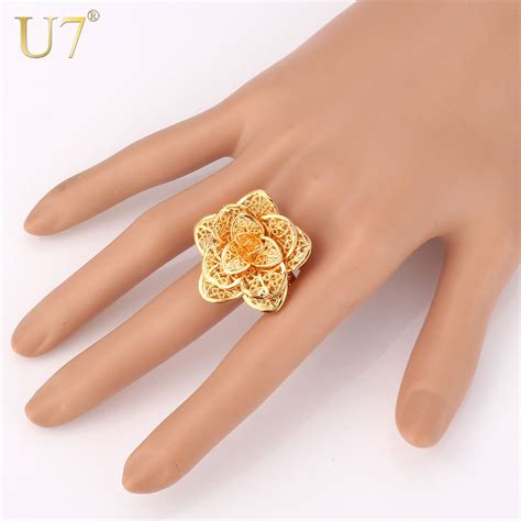 Cincin Gold Plate Alpaka Cincin Lapisan Emas 18 u7 brand big flower ring gold color jewelry wholesale vintage engagement bands ring