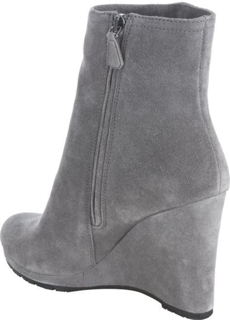 prada sport gravel suede wedge ankle boots in gray grey