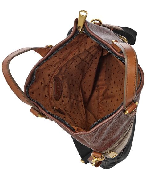 Fossil Evan Backpack Neutral Multi Brown Tas Backpack Fossil Original fossil explorer leather patchwork tote in brown lyst