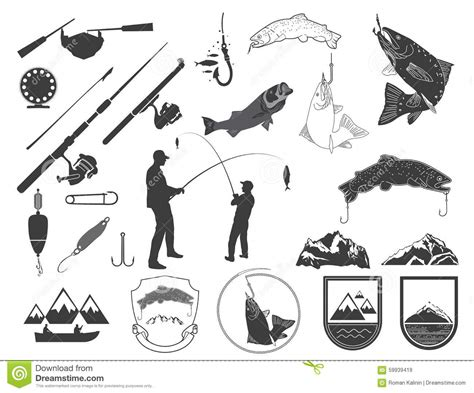 boat icon text set of fishing icons and icons stock vector image 59939419