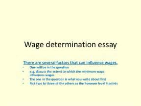 Determination Essays by Wage Determination Essay