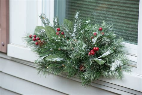 christmas swag windsor pre lit window swags set of 2