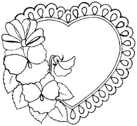 Galerry coloring pages of flower heart