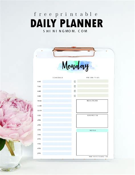 printable day planner paper free daily planner printable 7 pretty sheets