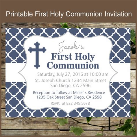 printable invitations first communion first holy communion printable invitation navy blue holy