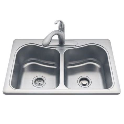 kohler staccato kitchen sink kohler staccato drop in stainless steel 33 in 3
