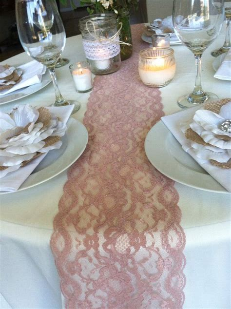 SALE! WEDDINGS Lace Table Runner, Dusty Rose, 5.5in WIDE