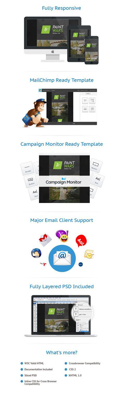 responsive layout animation modello di newsletter per un sito di paintball