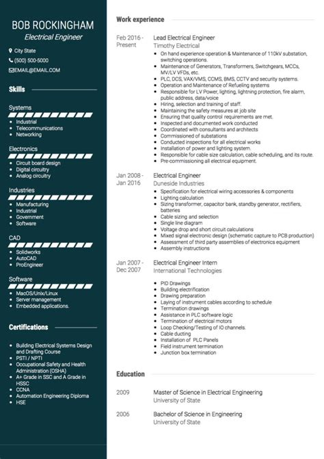 template curriculum vitae engineer electrical engineer cv exles and template
