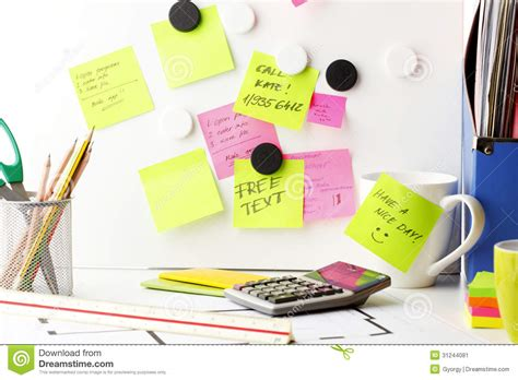 desk  post  notes stock image image