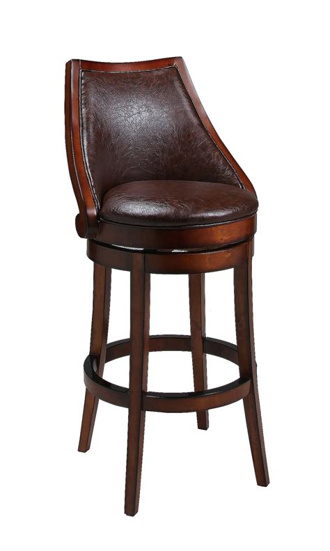 wood and leather bar stools rustic wood and leather swivel bar stool with back of 12