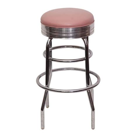 Retro Chrome Bar Stools by Retro 1960s Chrome Bar With Pink Leather Stools For Sale