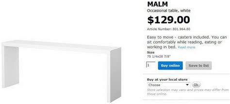 ikea over the bed table how to build a copy of an ikea malm occasional table for