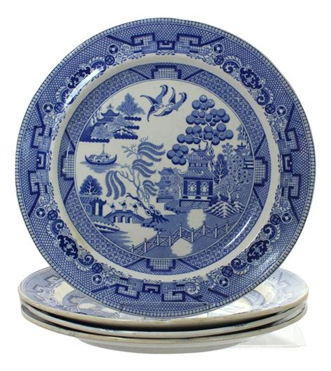 english willow pattern set of 13 english ironstone china plates with blue willow