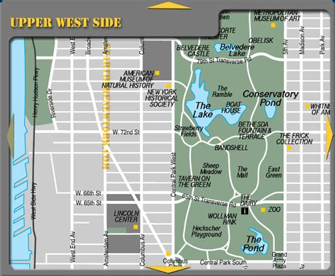 West Side Tourist Attractions West Side New York Tourist Map Central Park Mappery