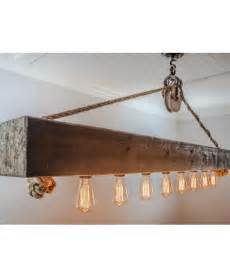 pulley chandelier rustic wood beam chandelier with edison bulbs rope and pulley
