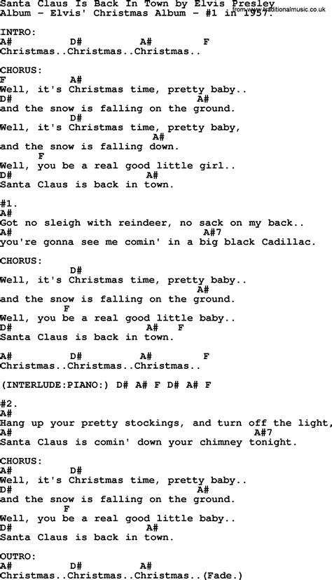 printable elvis lyrics santa claus is back in town by elvis presley lyrics and