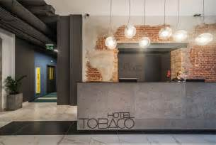 Industrial Style Reception Desk Modern Hotel With Industrial Background Hotel Lobbies Receptions Industrial And