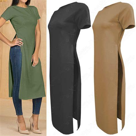 Slit New new womens crepe midi tunic side high split slit tops