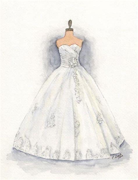 custom wedding dress painting matted watercolor bridal - Brautkleider Zeichnungen