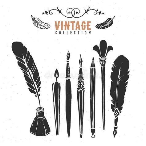 vintage logo generator stock vector image of brush vintage retro old nib pen brush ink collection stock