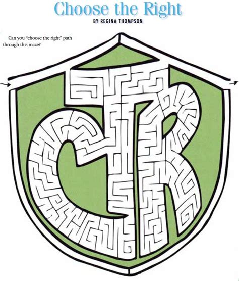 Printable Lds Mazes | lds games mazes choose the right ctr primary