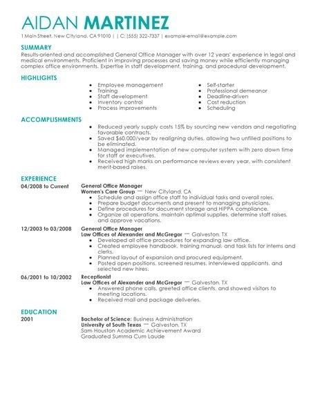 sle resume general manager construction company