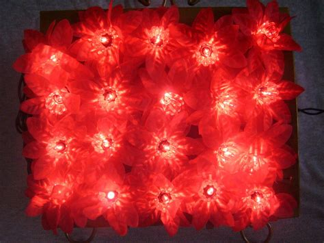 christmas poinsettia mini lights strand of 20 lights