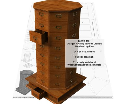 wc  octagon rotating tower  drawers woodworking