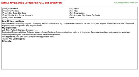 offer letter roll out meaning pull out operator application letter