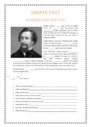biography of charles dickens worksheet english worksheets past simple biography