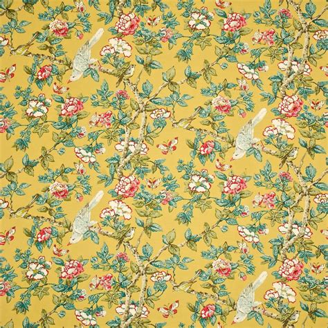 Caverley Fabric   Chinese Yellow (DCAVCA202)   Sanderson Caverley Fabrics Collection