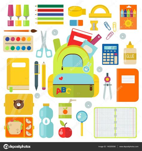 imagenes de utiles escolares caricaturas school supplies vector illustration isolated on white