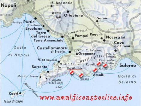 map of amalfi coast visitsitaly amalfi coast map