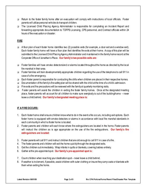 disaster emergency plan template for families