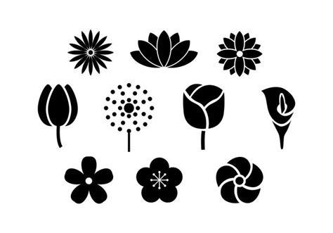 Libere el vector del icono de la silueta de las flores