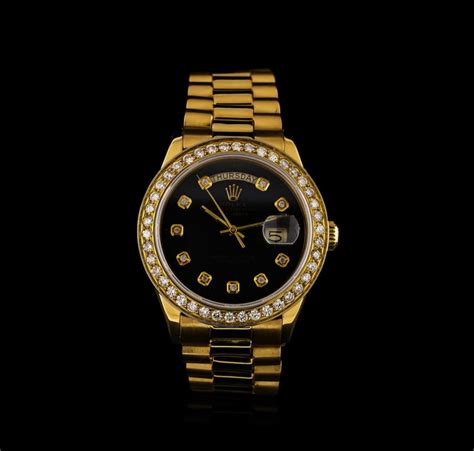 rolex auction 18kt yellow gold daydate men s