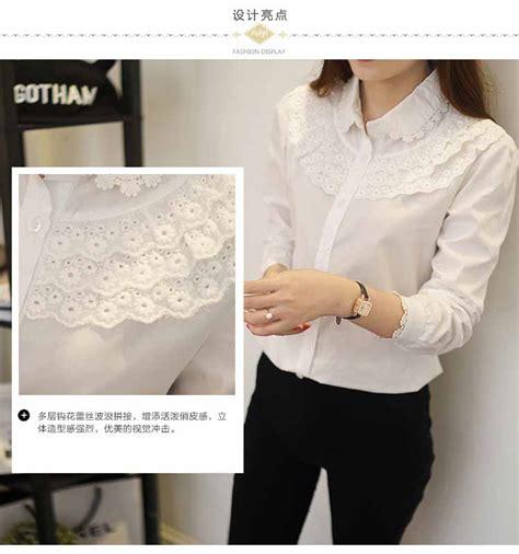 Top Kemeja Putih Fashion Casual Wanita Bagus Murah kemeja renda putih cantik terbaru model terbaru jual murah import kerja