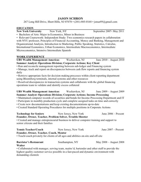 Resume Sample Nyu by Resume Nyu Graduate Economics Business
