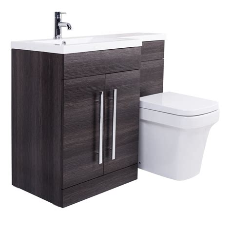 Combination Bathroom Furniture Grey Lh Combination Bathroom Furniture Vanity Unit Basin Back To Wall Toilet Ebay
