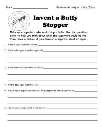 printable bullying quiz invent a bully stopper superhero education pinterest