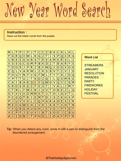 year color word search template