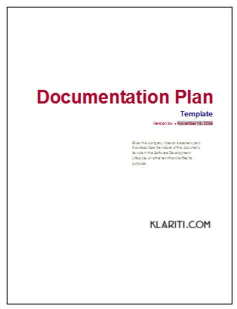 technical document template documentation plan ms word template for software project