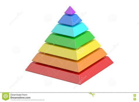 Business Pyramide With Color Levels Pyramid Chart 3d Six Color Print L
