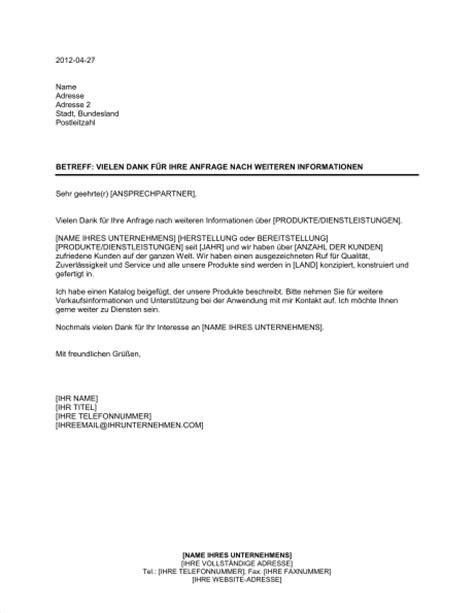 Mit Freundlichen Grüßen Brief Muster vielen dank f 252 r ihre anfrage nach weiteren informationen