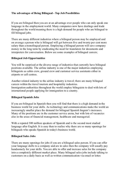 Bilingualism Essay benefits being bilingual essay