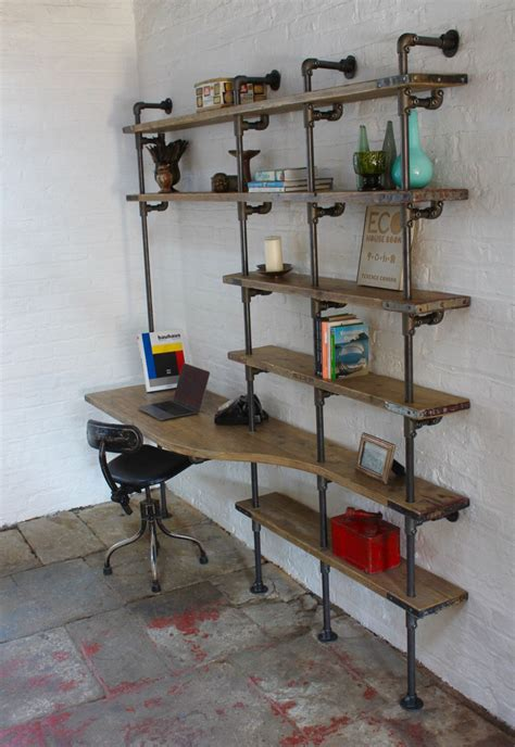 Desk Shelf Unit by Reclaimed Scaffolding Board Curved Desk And Shelf