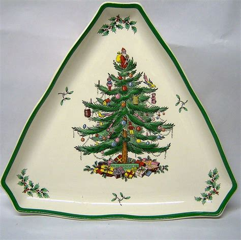 spode quot christmas tree quot large triangular tray from