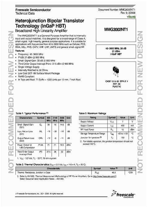 heterojunction bipolar transistor applications mmg3002nt1 4237275 pdf datasheet ic on line
