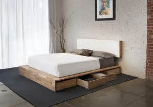 Bed Platform With Storage Minimalist Wooden Decor Offers Organic Small Space Solutions